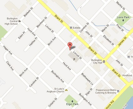 map of our Burlington location