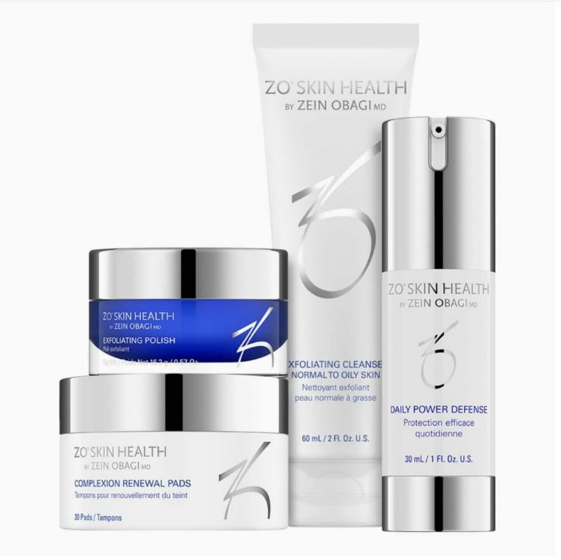 ZO Skin Health products, Complexion Renewal Pads, Exfoliating Polish, Exfoliating Cleanse and Daily Power Defense